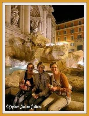 Eating ice creams at the Trevi Fountain in March