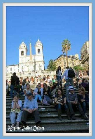 March at the Spanish Steps under a clear blue sky