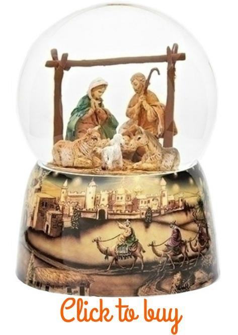 Nativity scene snow globe.