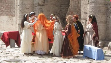 Ancient Roman women wedding preparations