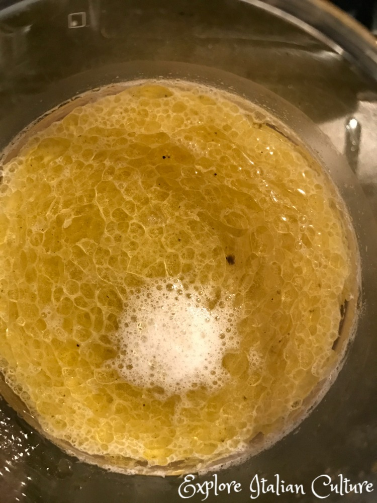 Water, oil and yeast start to ferment.