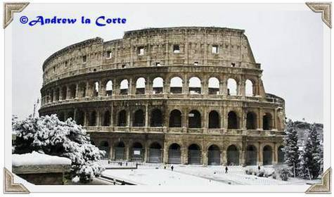 Colosseum in Rome under snow