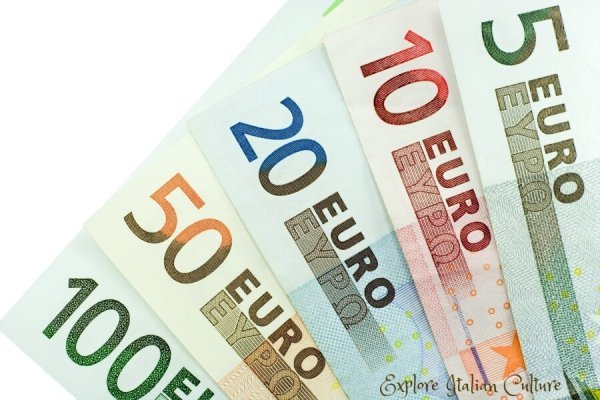 The different Euro notes.