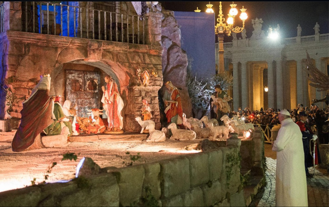 Nativity scene in Rome with Pope Francis.