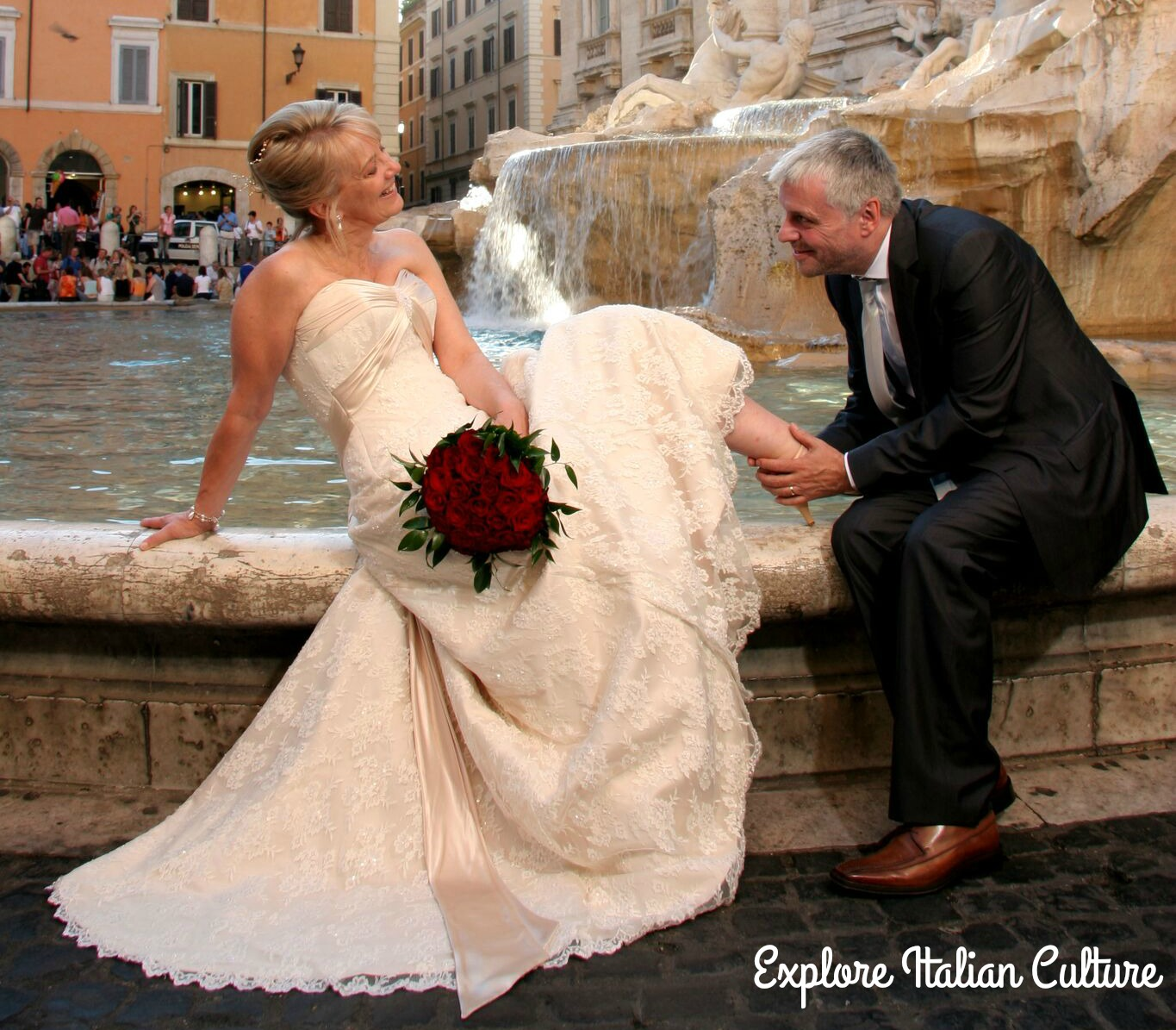 A wedding couple in Rome.