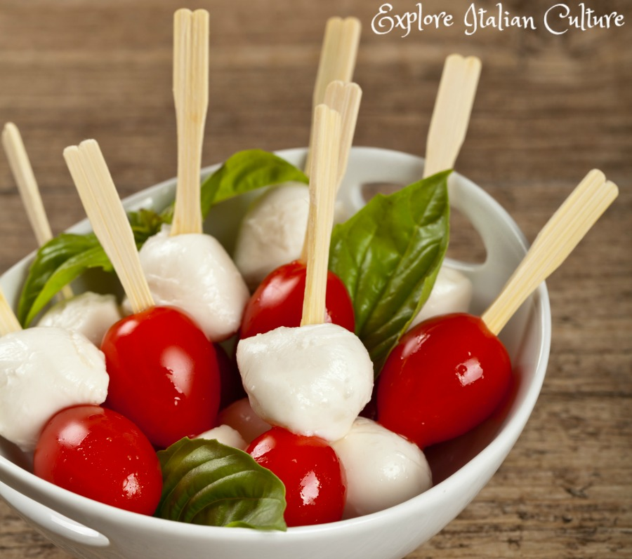 Caprese kebabs, in the colour of the Italian flag.