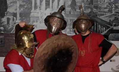 Group of friends at Rome's gladiator school.