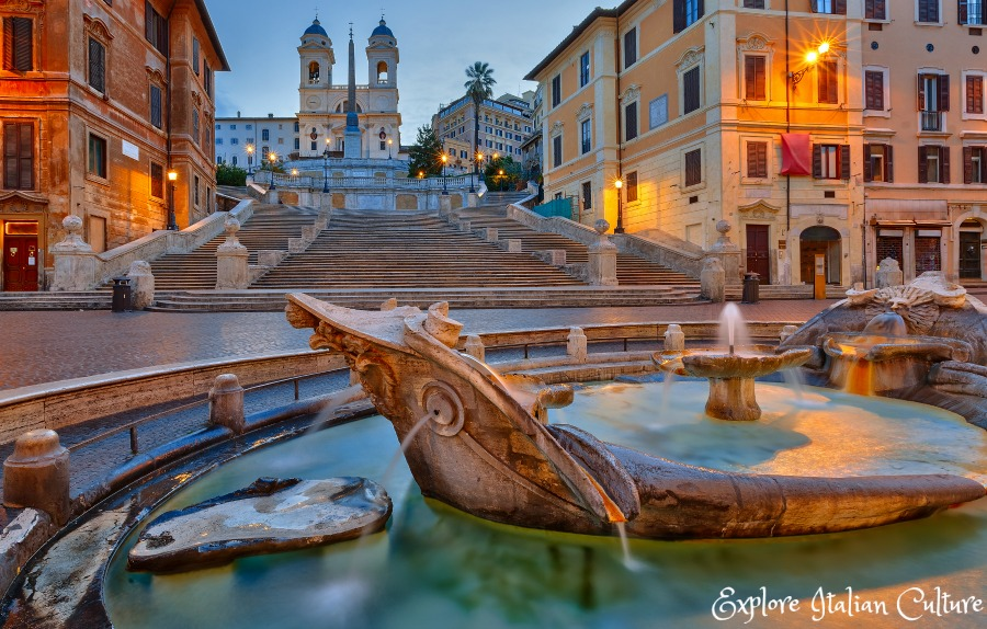 The Barcaccia fountain at the bottom of the Spanish Steps.