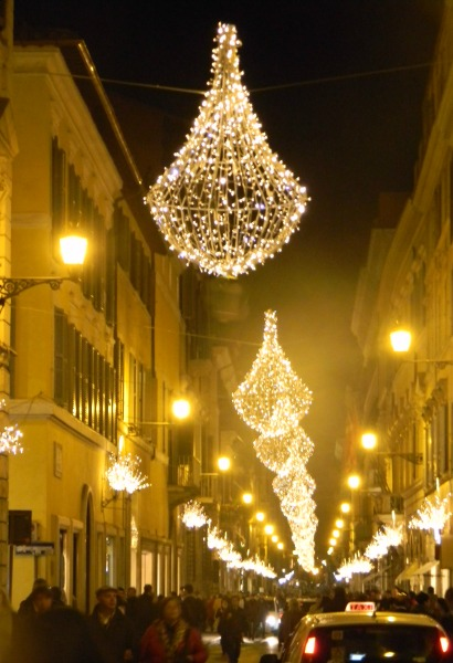 Christmas decorations in the Via Condotti, Rome.