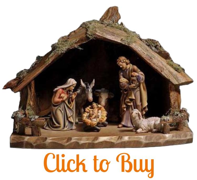 Wooden nativity set.