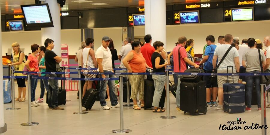 Check-in at Ciampino airport.