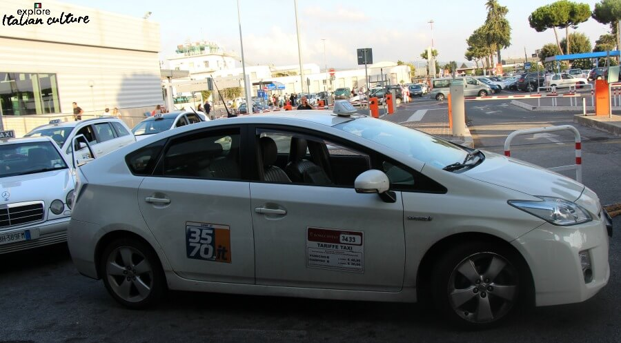 Taxis outside the arrivals hall of Ciampino airport.