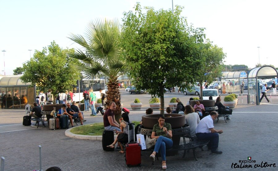 An external sitting area at Rome Ciampino airport.