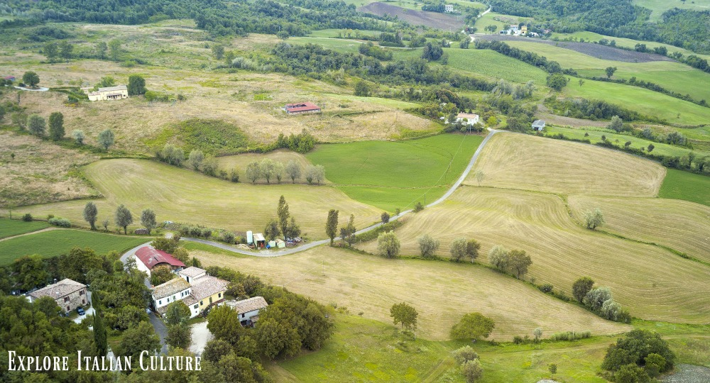 Fields and farms in Emilia Romagna.