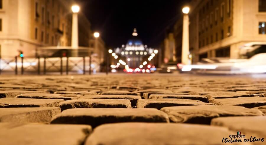 The cobblestones leading to St Peter's Basilica, Rome.