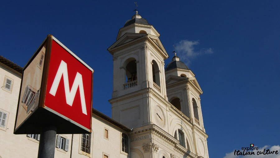 The Metro stop at the top of the Spanish Steps, Rome, Italy.