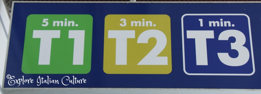 Walking times to each terminal shown on information boards.