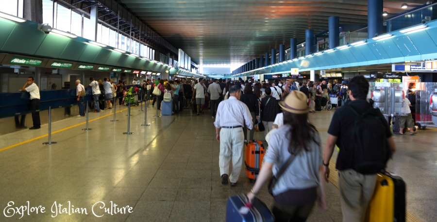 Fiumicino airport: always chaotic - allow plenty of time for checking in.