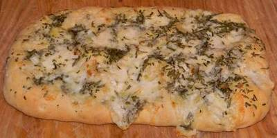 Foccacia bread made in the Panasonic bread machine
