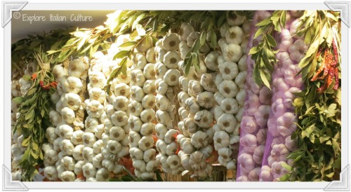 Fresh garlic in an Italian market stall