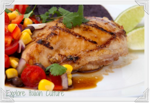 Grilled chicken as part of the Mediterranean diet