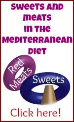 Mediterranean diet : sweets and meats.