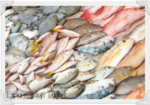 Fresh fish on an Italian market stall