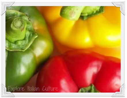 Delicious red, green and yellow peppers