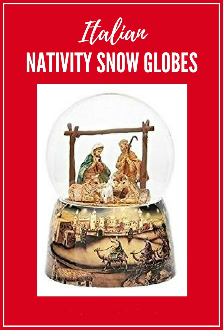 Thumbnail link to nativity snow globes.