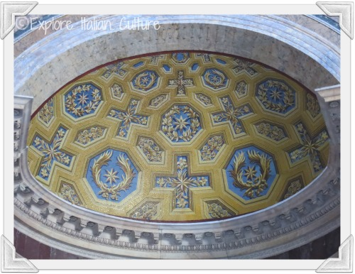 Stunning gold and blue mosaic design inside the Pantheon