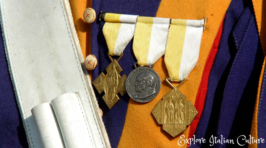 The Swiss Guard and their medals.