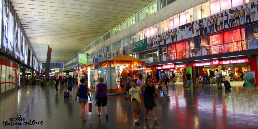 Shopping at Termini's extensive shopping mall.