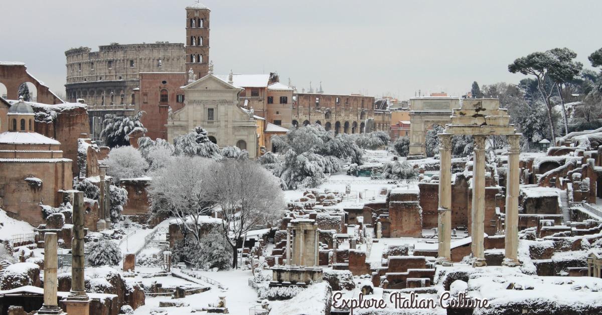 Roman forum in snow.