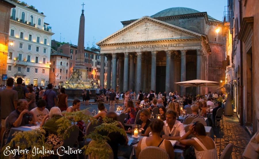 Eating outside, in the shadow of the Pantheon, on a balmy August night.