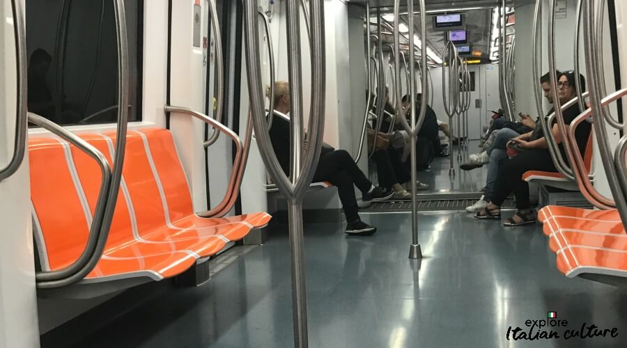 A Metro train with few passengers in August.