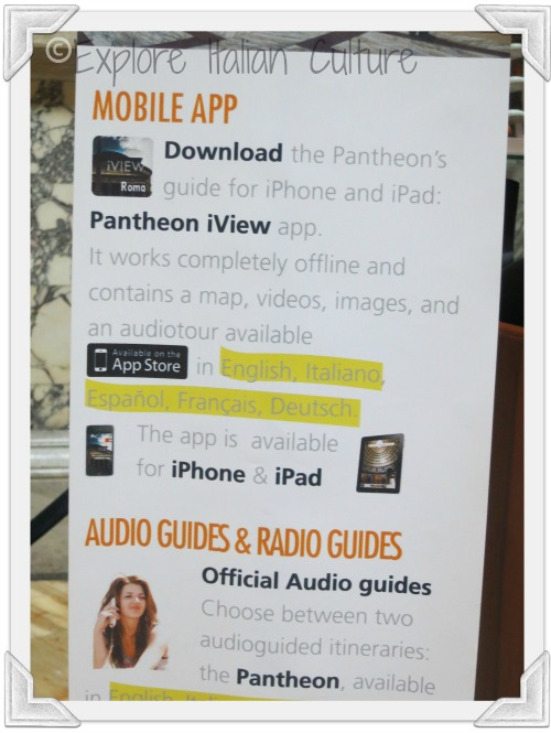 There are both guided and self-guided tours available at the information desk inside the Pantheon