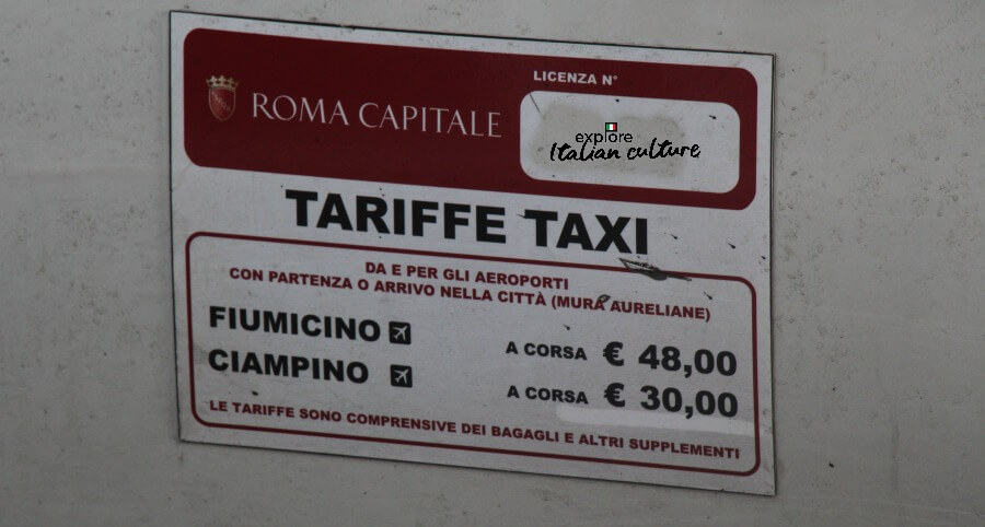 City of Rome licensed taxi cab fares.