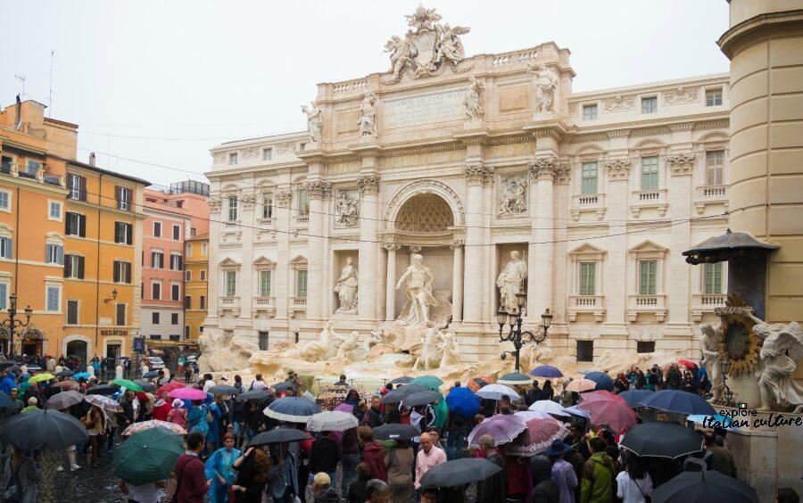 Rain at the Trevi Fountain, Rome.