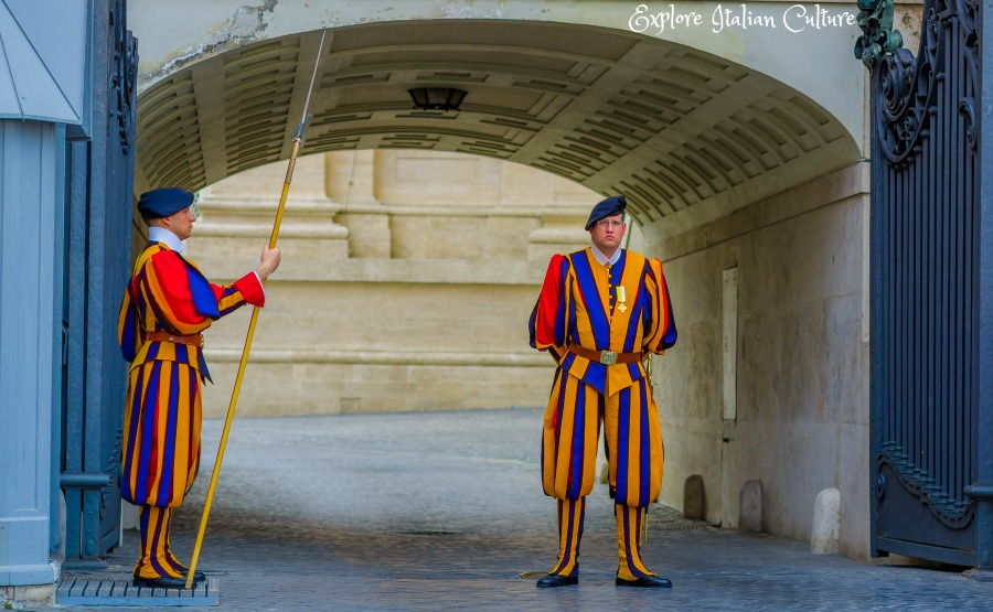The Papal Swiss Guards at their barracks entrance, Rome.