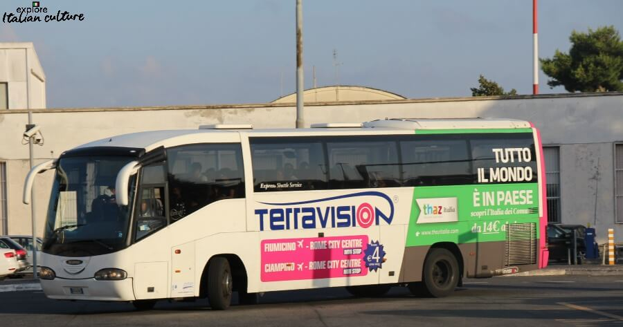 The Terravision coach goes from both Ciampino and Fiumicino airports.