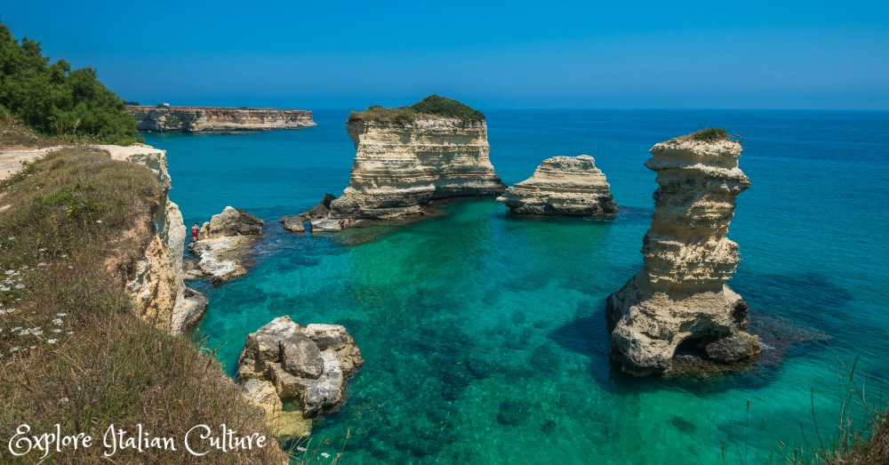 The beautiful Puglian coast near where the Adriatic meets the Ionian sea: Torre Sant'Andrea.  Simply stunning.