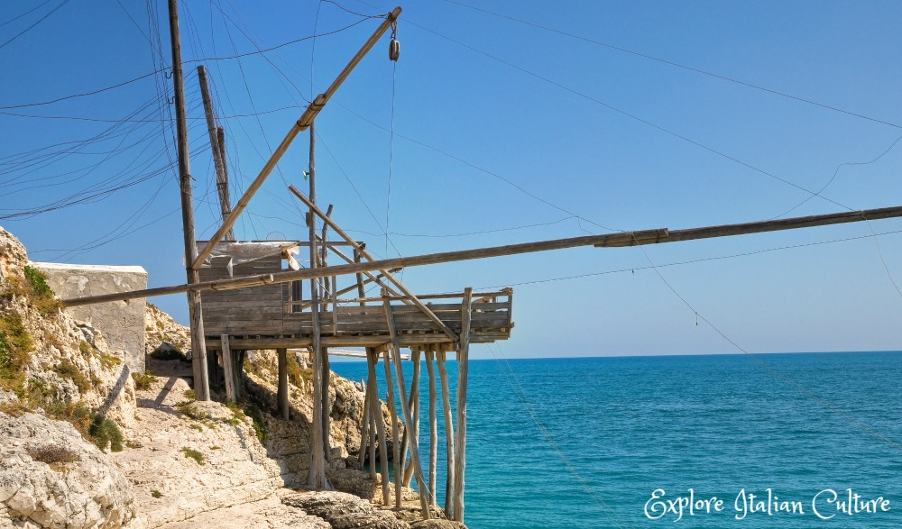 A traditional fishing machine on the coast at Vieste, Puglia, Italy. Watch the fish being caught - and then stay for lunch!