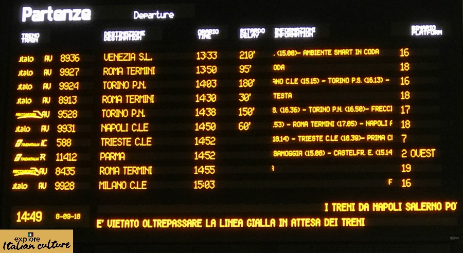 Train departure times at Rome station using the 24 hour clock.