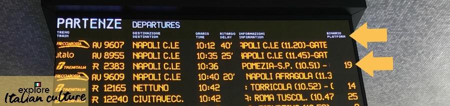 Train movements board, Italy