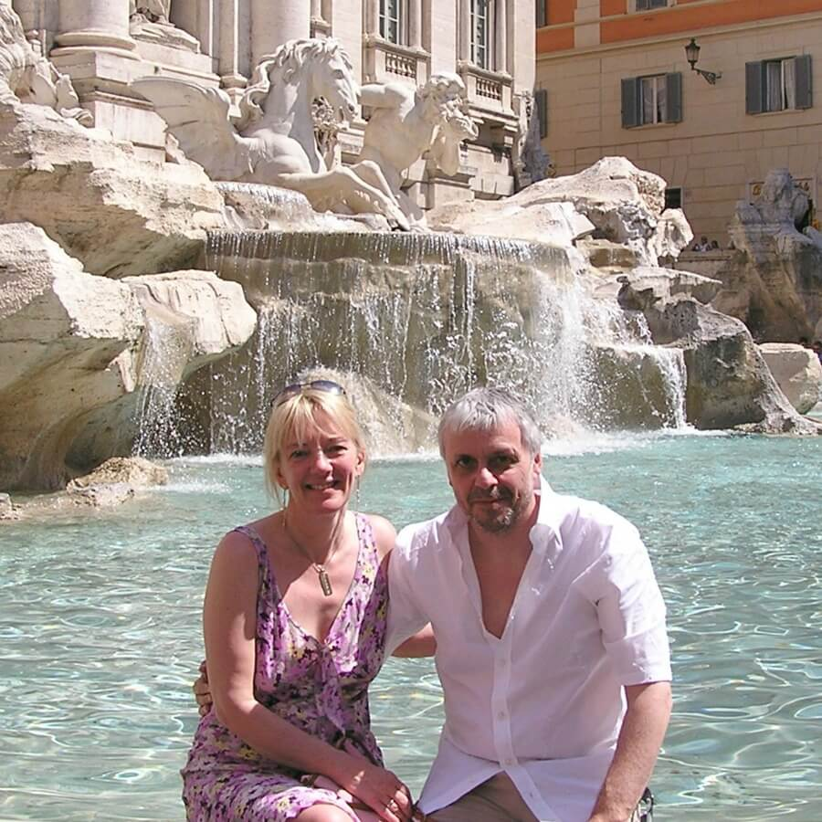 Cath and Mike at the Trevi Fountain in Rome.