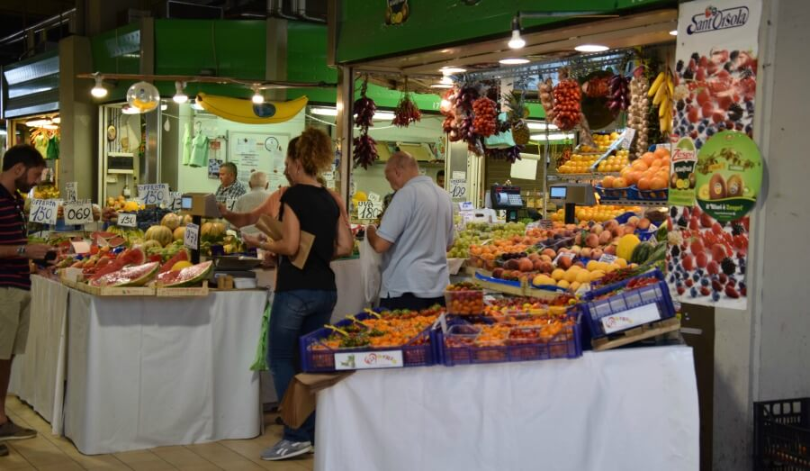 A vegetable stall on the indoor Trionfale market, Rome.
