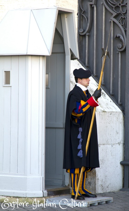 Swiss guard on duty at St Peter's Basilica, Rome.
