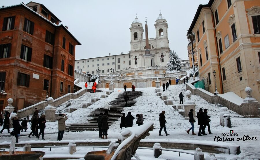 Snow on the Spanish Steps.
