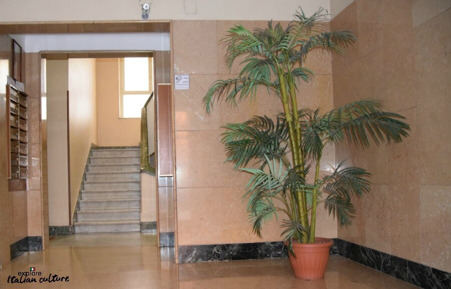 The bright, spacious lobby area of Laura's apartment with large plant and staircase.