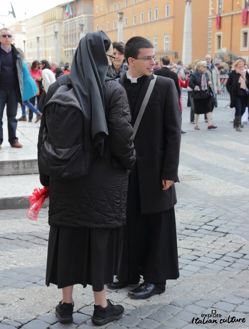 Clergy crossing the road in Rome.